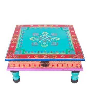 Turquoise & Red Hand-Painted Bajot Latched Low Table
