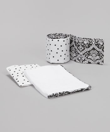 Black & White Damask Portable Crib Bedding Set