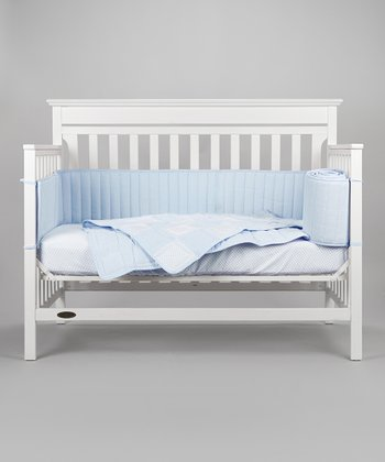 Blue Patchwork Gingham Crib Bedding Set