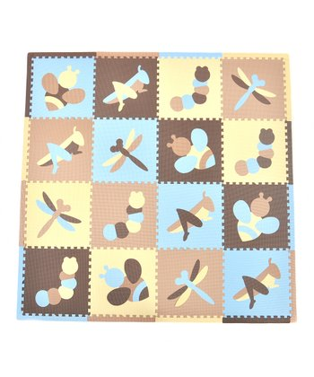 Blue & Taupe Bugs Play Mat Set