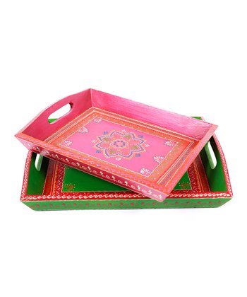 Pink Hand-Painted Tray Set