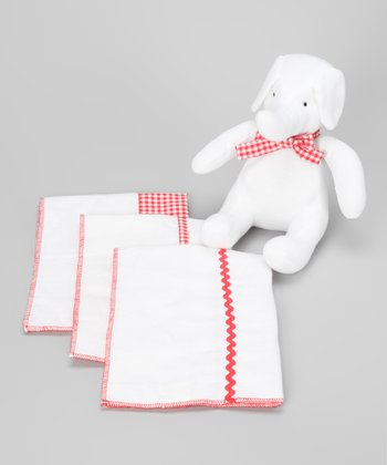 Red Burp Cloth Gift Set