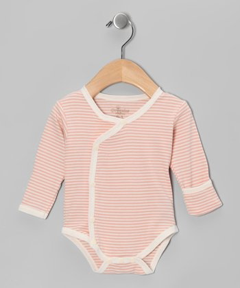 Salmon Stripe Organic Wrap Bodysuit - Infant
