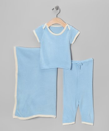 Blue Soft as Pashmina Knit Layette Set