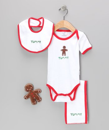 White 'Yummy' Gingerbread Man Layette Set - Infant