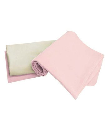Pink Organic Flannel Stroller Blanket - Set of Three