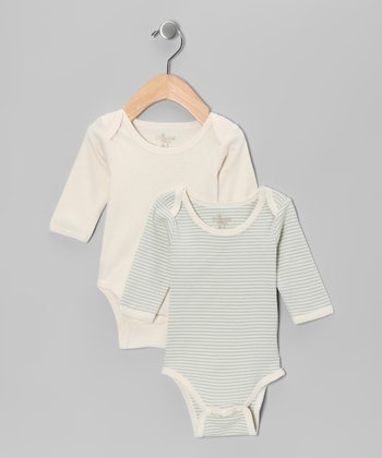 Pistachio & Cream Organic Bodysuit Set - Infant