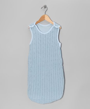 Blue Cable-Knit Sleeping Sack