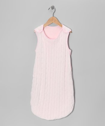 Pink Cable-Knit Sleeping Sack