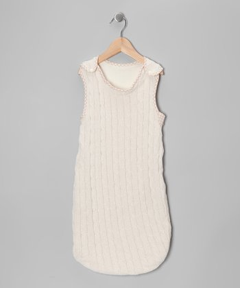 White Gingham Cable-Knit Sleeping Sack