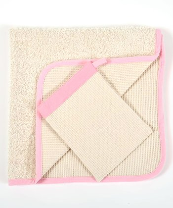 Pink Organic Hooded Towel & Bath Mitt