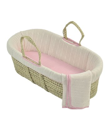 Pink Cable-Knit Moses Basket Bedding Set