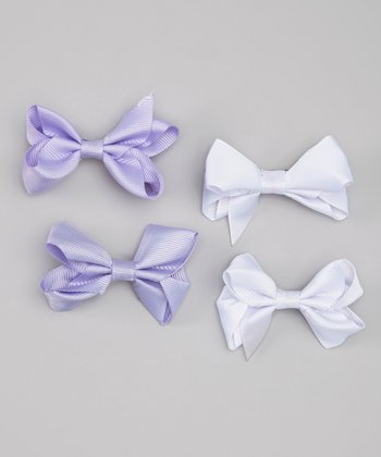 Lavender & White Bow Clip Set