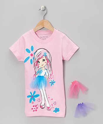 Pink Interchangeable Tutu Tee - Girls