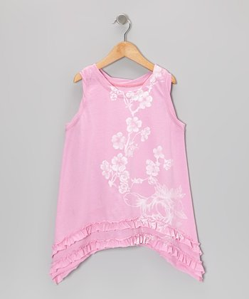 Pink Floral Sidetail Shift Dress - Toddler