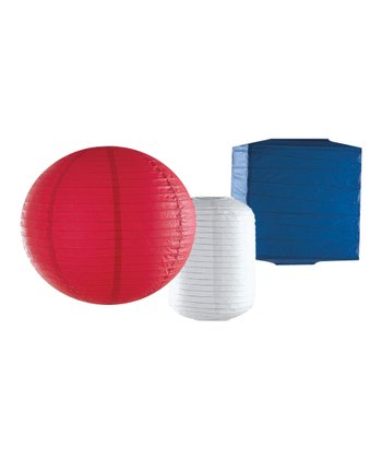 Red, White & Blue Solid Paper Lantern Set