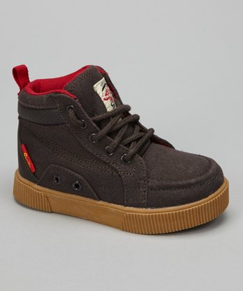Brown & Red King Hi-Top Sneaker