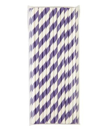 Dark Purple Stripe Paper Straw - Set of 25