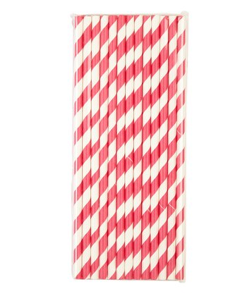 Hot Pink Stripe Paper Straw - Set of 25