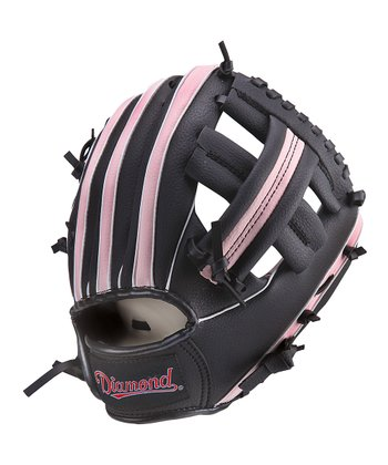 "Black & Pink 9.5"" Right-Handed T-Ball Glove & Ball"