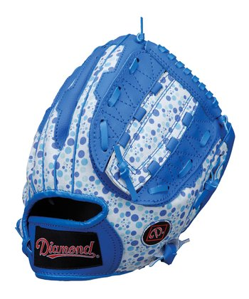 "Blue Polka Dot 9.5"" Right-Handed Dual-Hinge T-Ball Glove"