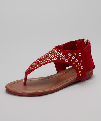 Red Studded Anika Sandal