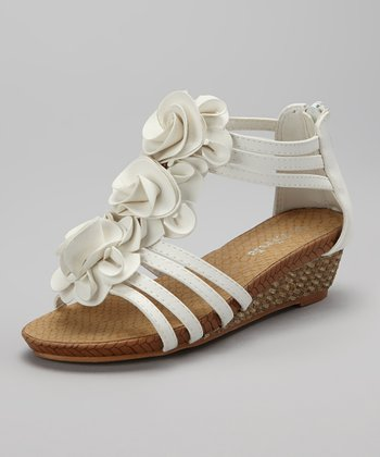 White Flower Jojo Wedge Sandal