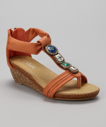 Orange Jojo Wedge Sandal