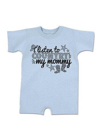 Light Blue 'Listen to Country' Romper - Infant