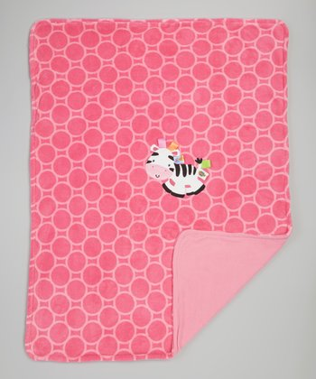 Hot Pink Zebra Plush Receiving Blanket