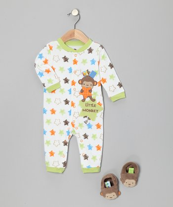 Lime & Brown Monkey Star Playsuit & Booties