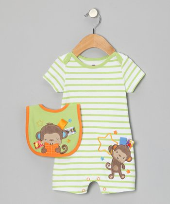 Lime & Brown Monkey Star Romper & Bib