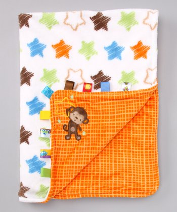 Lime & Orange Monkey Star Stroller Blanket