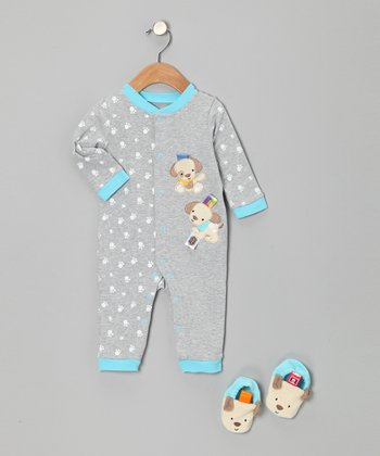 Turquoise & Gray Puppy Playsuit & Booties