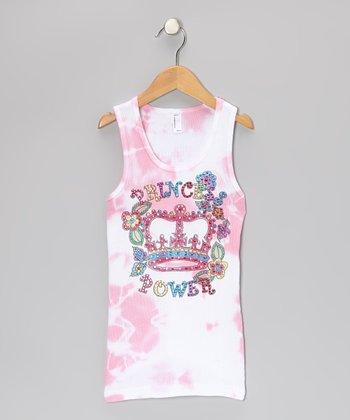 Pink & White Tie-Dye 'Princess Power' Tank