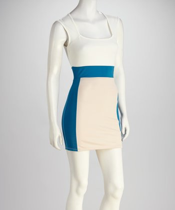 Ivory & Blue Square Neck Dress