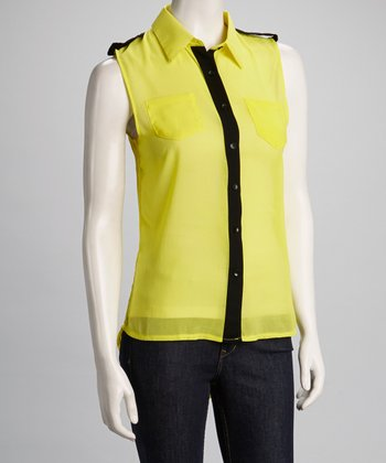 Yellow Color Block Sleeveless Hi-Low Button-Up