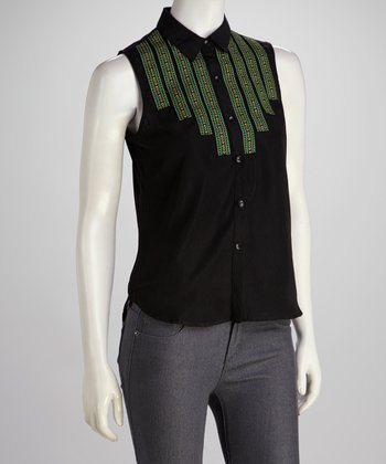 Black Stripe Sleeveless Button-Up