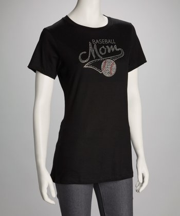 Black Rhinestone 'Baseball Mom' Tee - Women