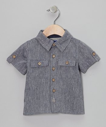Chambray Linen-Blend Button-Up - Infant & Toddler