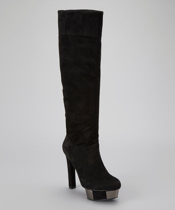 Black Suede Piper Boot