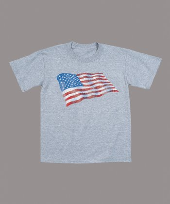Athletic Heather American Flag Tee - Toddler & Kids