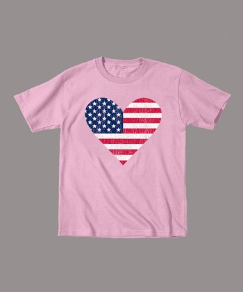 Light Pink American Flag Heart Tee - Toddler & Kids