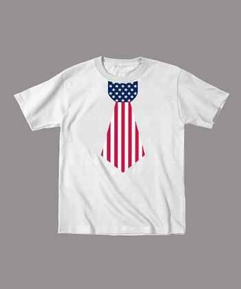 White American Flag Tie Tee - Toddler & Kids