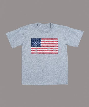 Athletic Heather Distressed American Flag Tee - Toddler & Kids