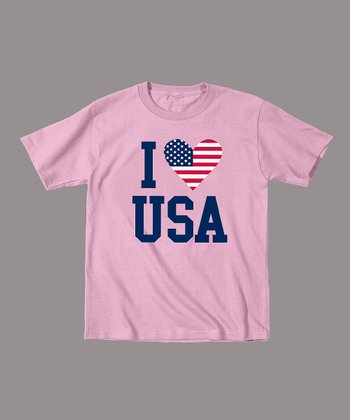 Light Pink 'I Love USA' Tee - Toddler & Girls