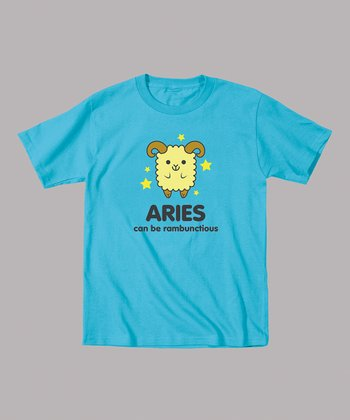 Turquoise 'Aries Can Be Rambunctious' Tee - Toddler & Kids