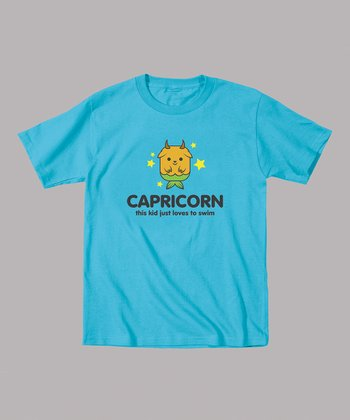 Turquoise 'Capricorn Loves To Swim' Tee - Toddler & Kids