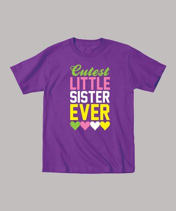 Purple 'Cutest Little Sister Ever' Tee - Toddler & Girls