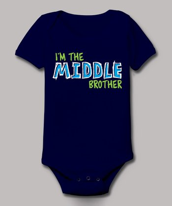 Navy 'I'm the Middle Brother' Bodysuit - Infant
